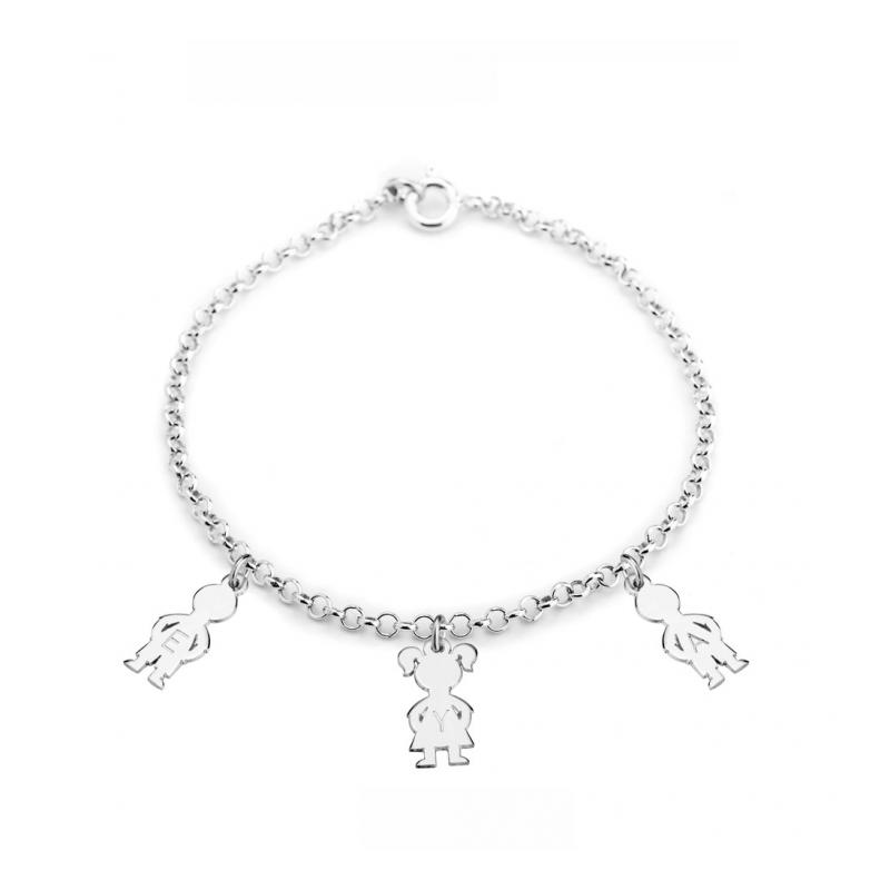 prix spécial pour style le plus récent professionnel de la vente à chaud Bracelet 1 à 5 silhouettes enfants avec gravure des prénoms ...